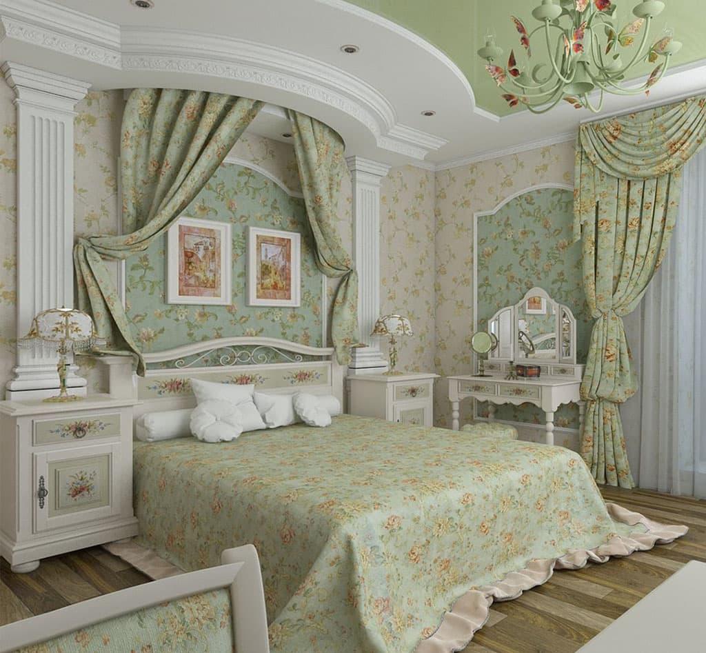 Красивая спальня в духе французского прованса