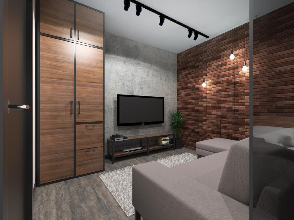 Отделка стен в однушке лофтного стиля
