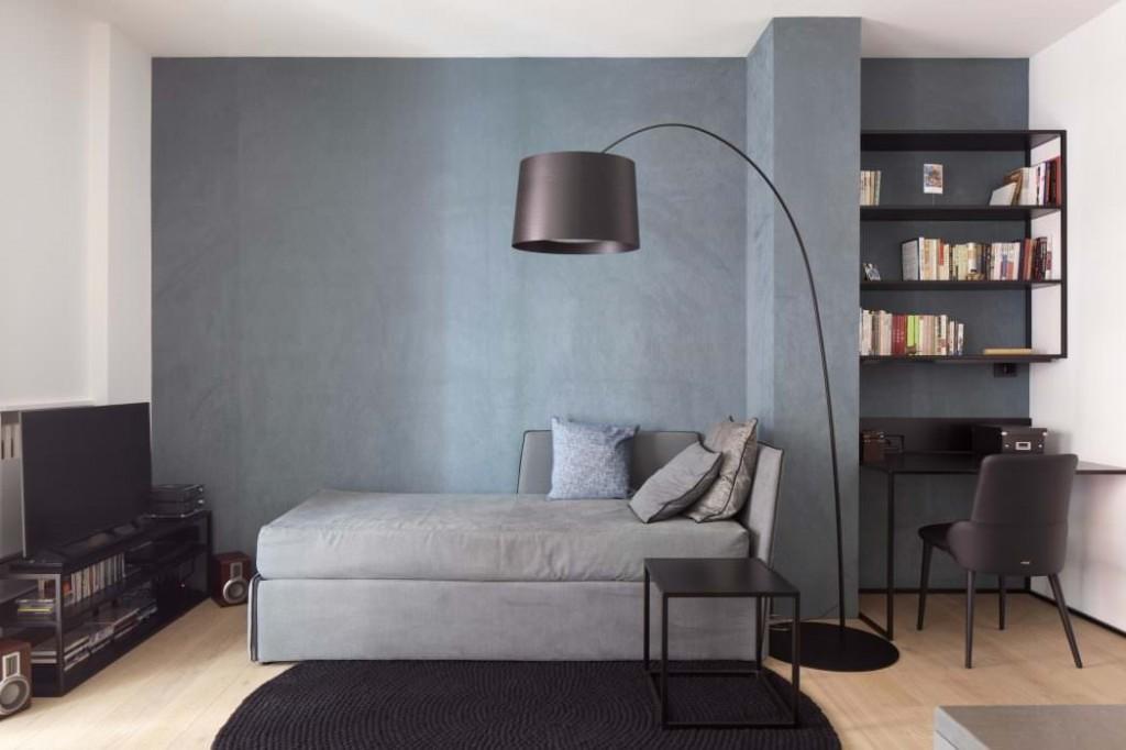 Напольный светильник в квартире минималистического стиля