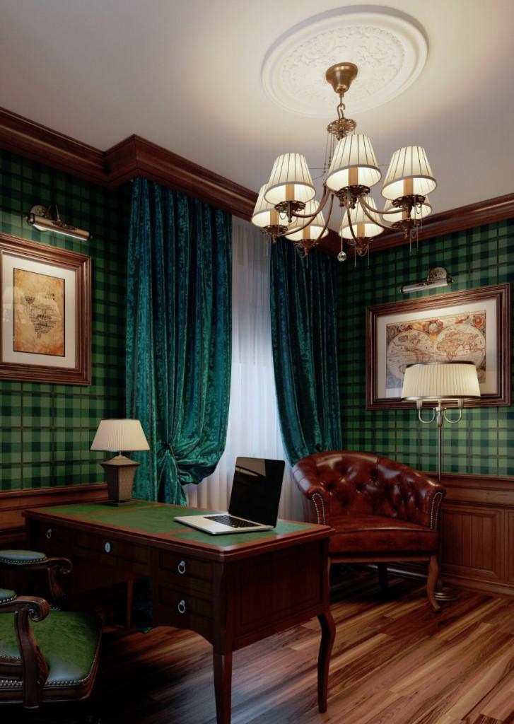 Темно-зеленые шторы из плотной ткани