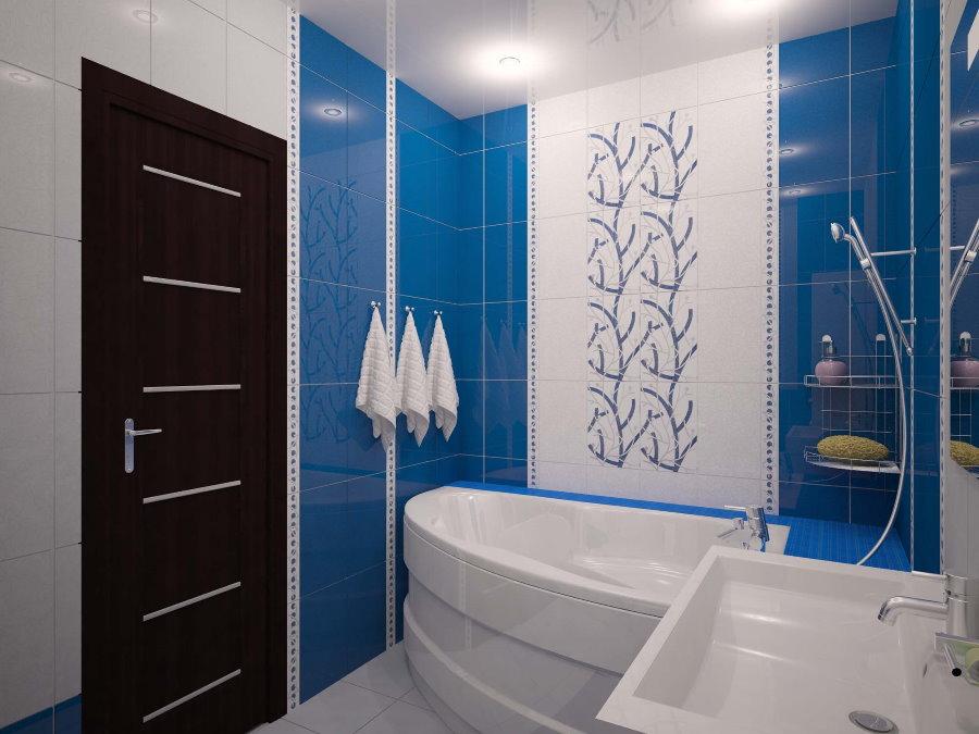 Облицовка стен ванной синей плиткой