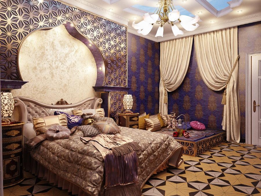 Дизайн спальни родителей в арабском стиле