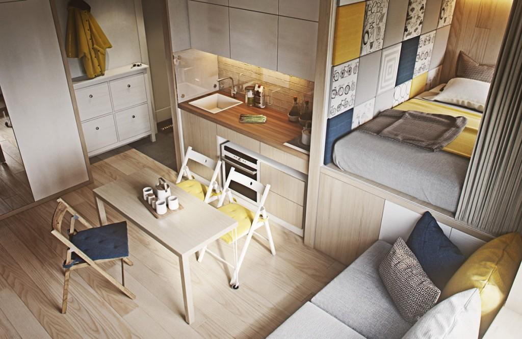 Складная мебель в интерьере квартиры студии