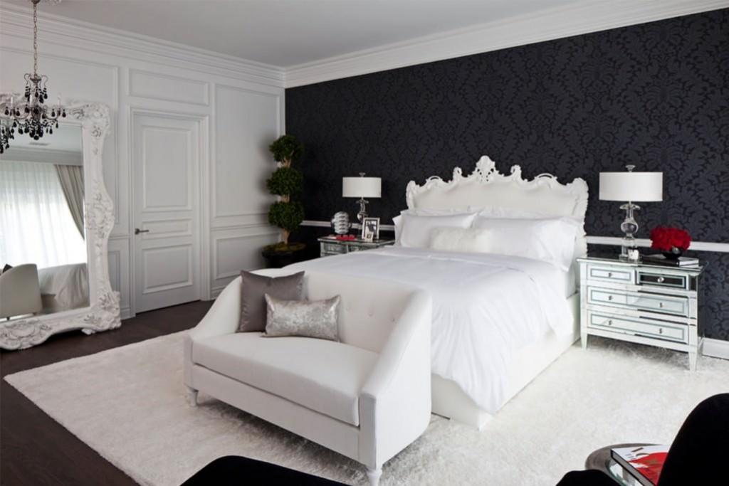Черные обои в спальне с белой мебелью