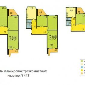 Схемы планировок трешек в панельных домах п 44 Т