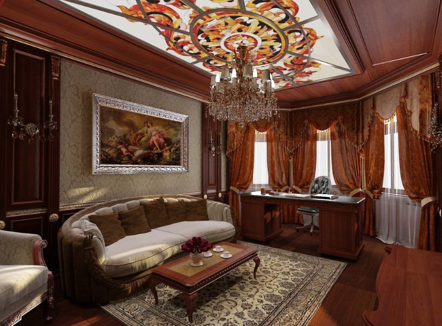 Стеклянные витражи на потолке в кабинете