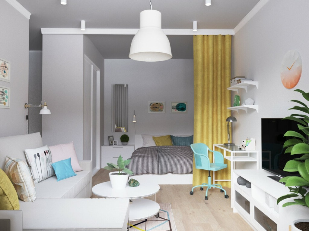Желтая штора в небольшой квартире стиля сканди