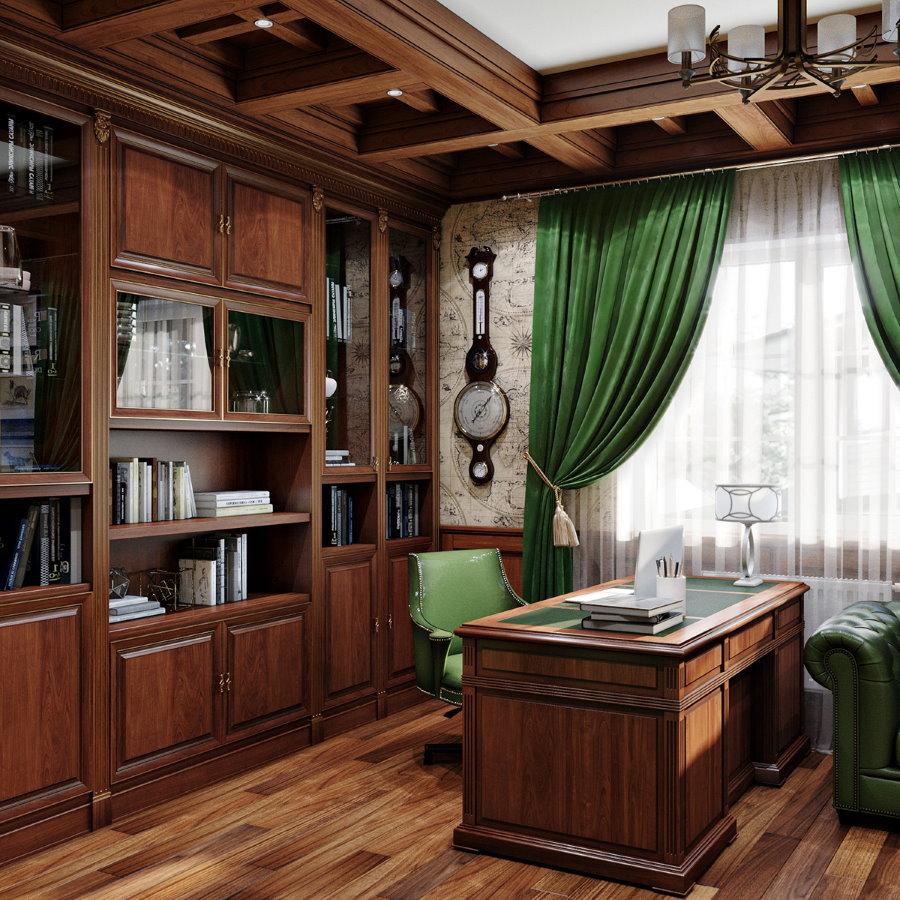 Зеленый текстиль в интерьере классического кабинета