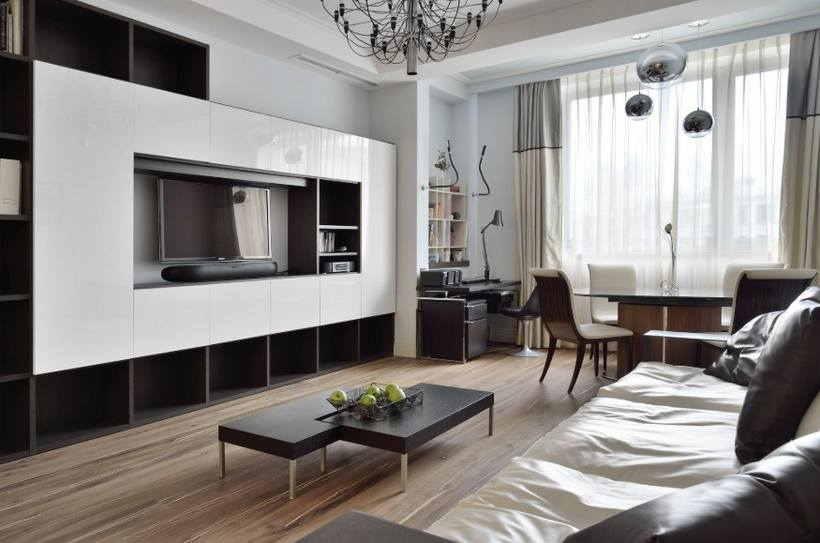 Зонирование гостиной комнаты с помощью потолка