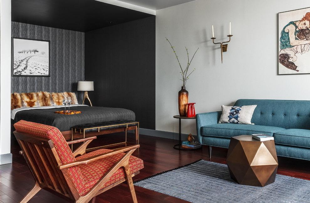 Зонирование цветом стен однокомнатной квартиры