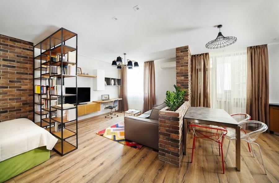 Вариант зонирования однокомнатной квартиры в стиле лофт