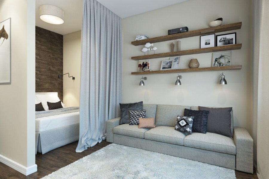 Подвесные полки над диваном в спальне-гостиной