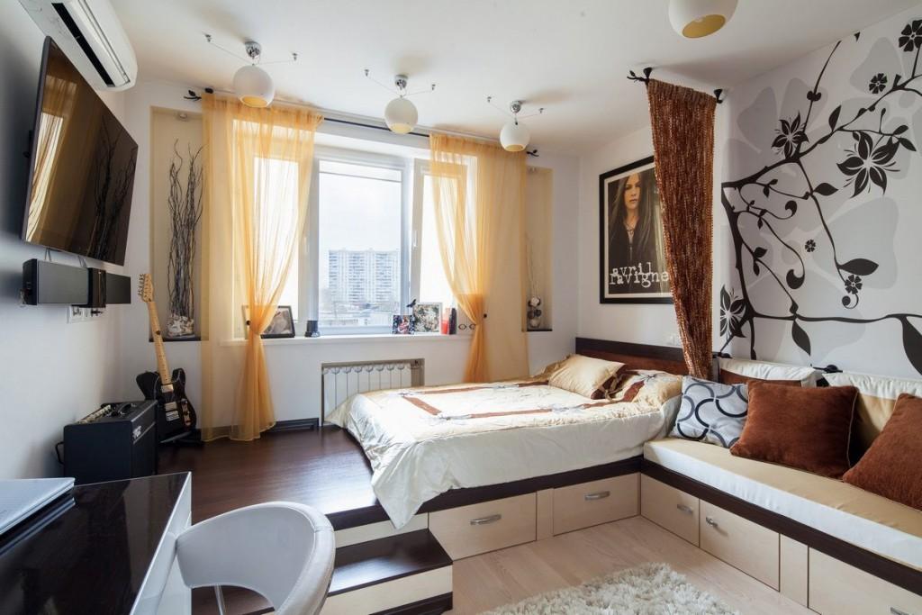 Зонирование подиумом однокомнатной квартиры