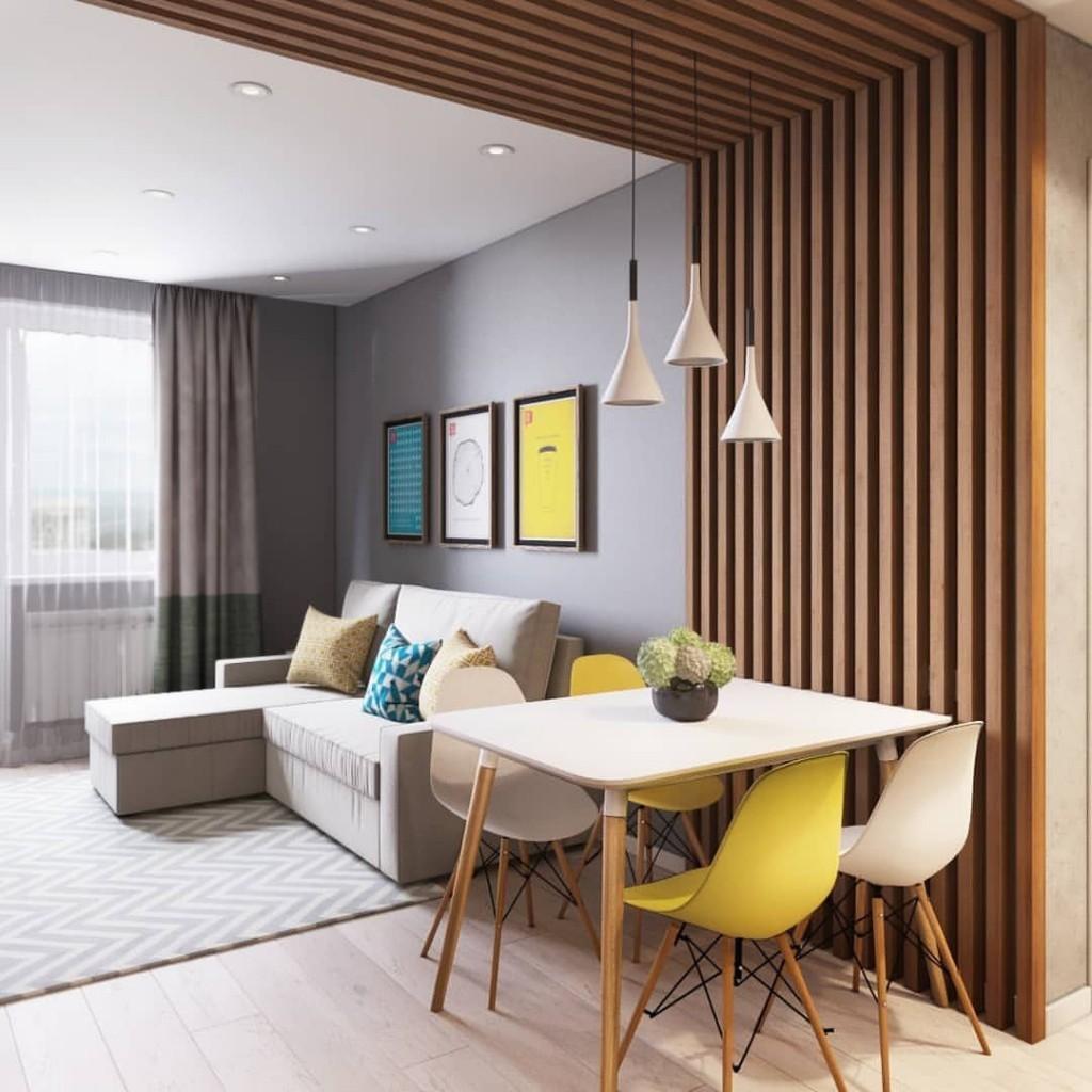 Декор столовой зоны деревянными рейками