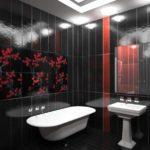 Черно-белая ванная комната с элементами красного цвета