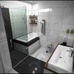 Черно-белая ванная комната с практичным дизайном