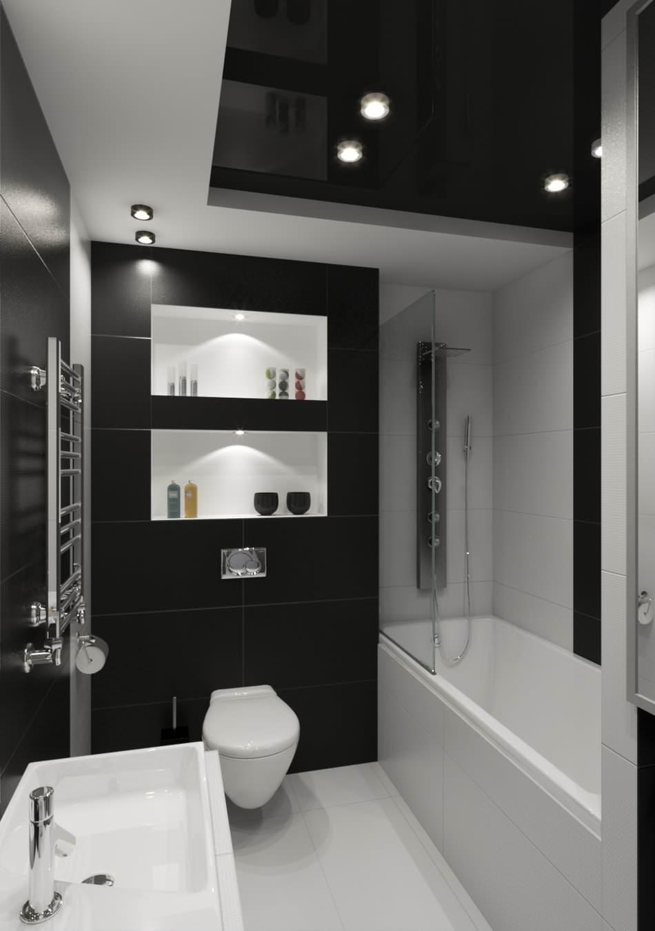 Черно-белая ванная комната с высоким потолком
