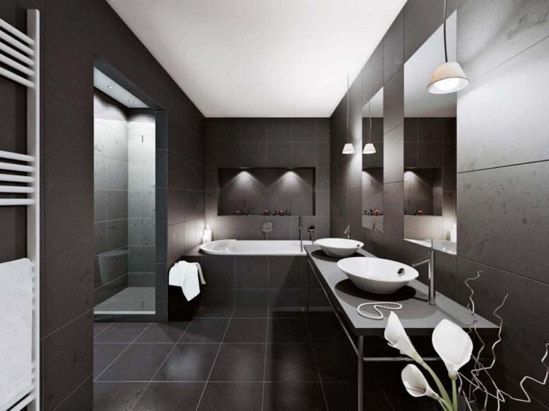 Черно-белая ванная комната требует ухода