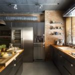 дизайн большой кухни стиль лофт