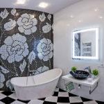 Дизайн ванной комнаты плавный переход от черного к белому