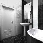 Дизайн ванной комнаты в стиле хай-тек в черно-белом глянце