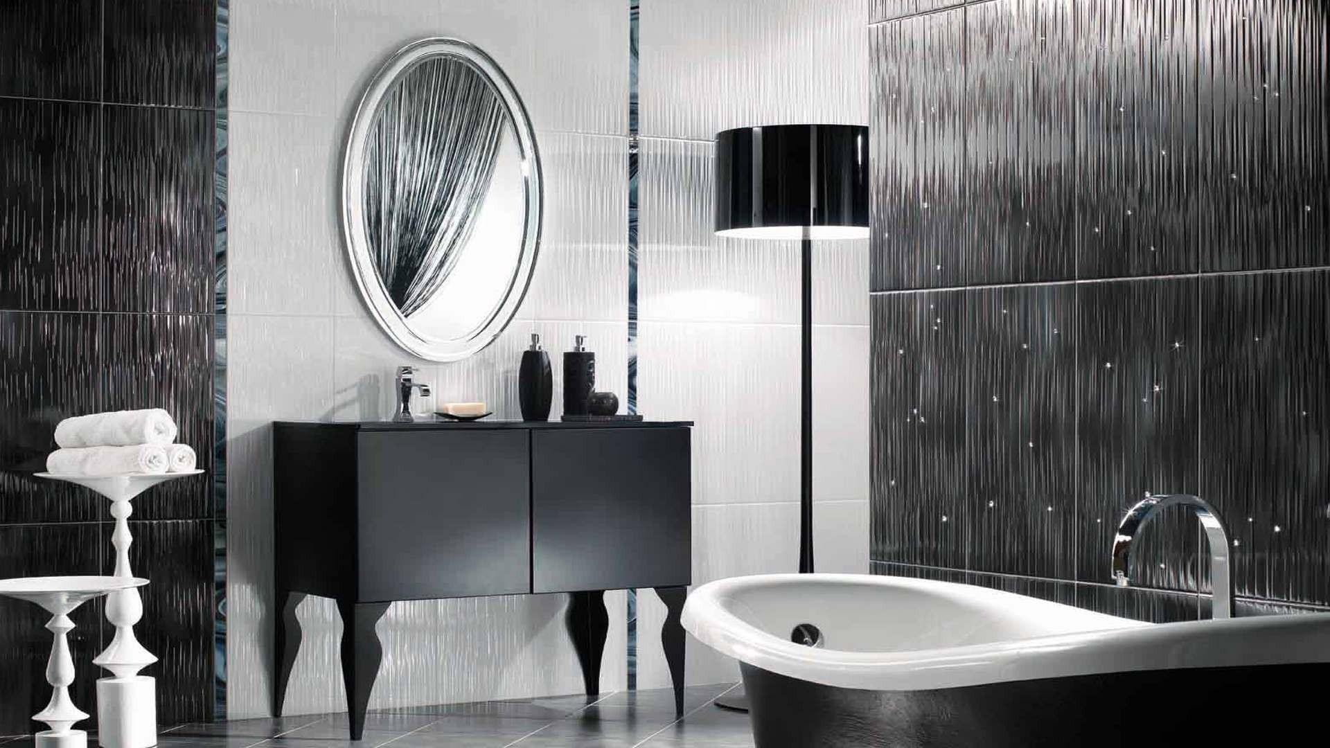 Ванная комната черно-белого цвета со стильным дизайном
