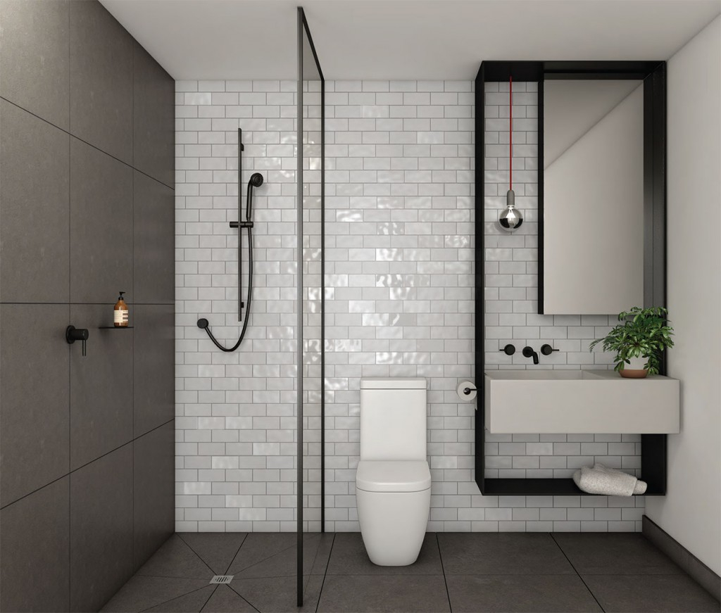 ванная комната с отделкой плиткой