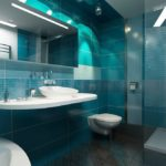 дизайн ванной совмещенной с туалетом в бирюзовых тонах