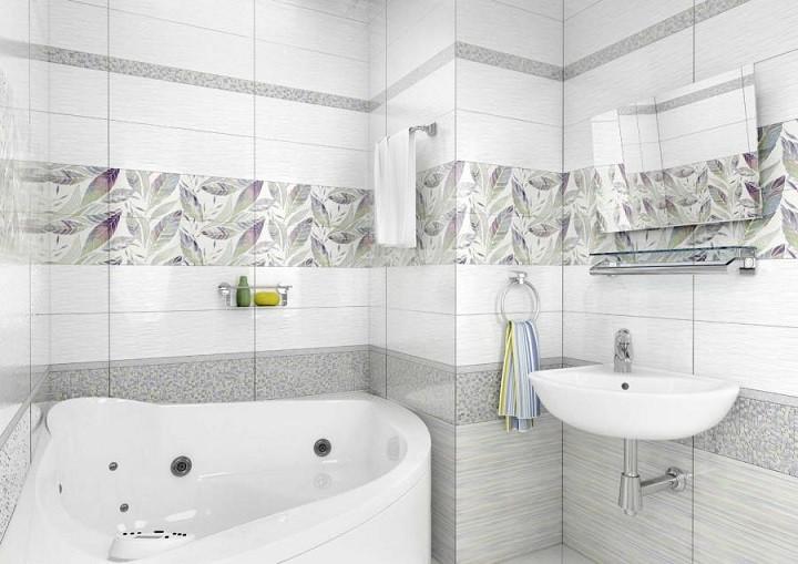 Белая ванная комната керамическая плитка с рисунком