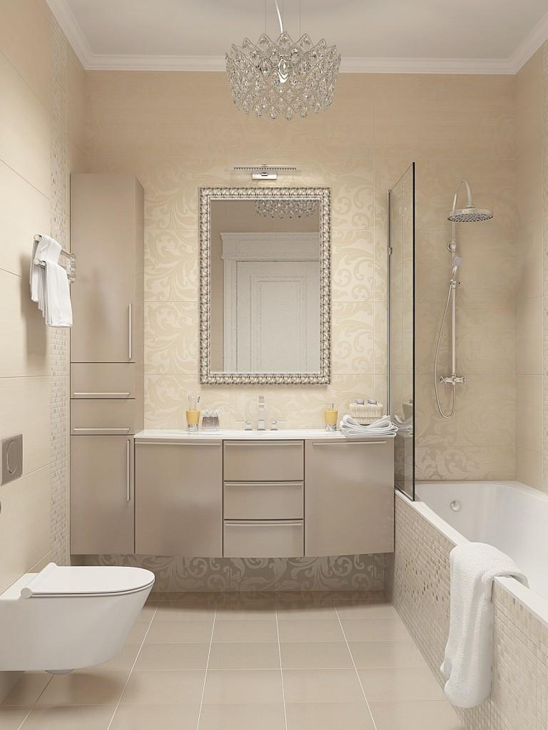 Белая ванная комната минимализм молочный