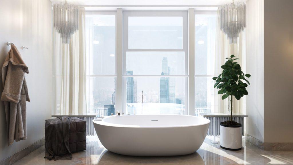 Белая ванная комната мрамор на полу