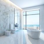Белая ванная комната мраморный минимализм