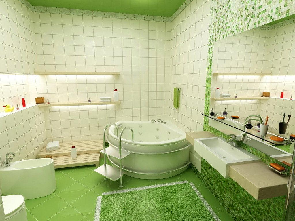 Белая ванная комната стиль эко зеленый