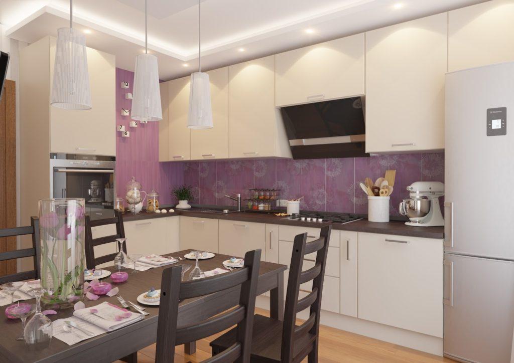 Бежевая кухня фиолетовый цвет
