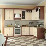 Бежевая кухня шахматная плитка