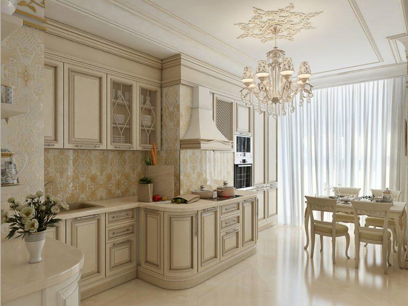 Бежевая кухня в стиле классик