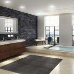 Большая ванная кафель декоративный камень панорамное окно