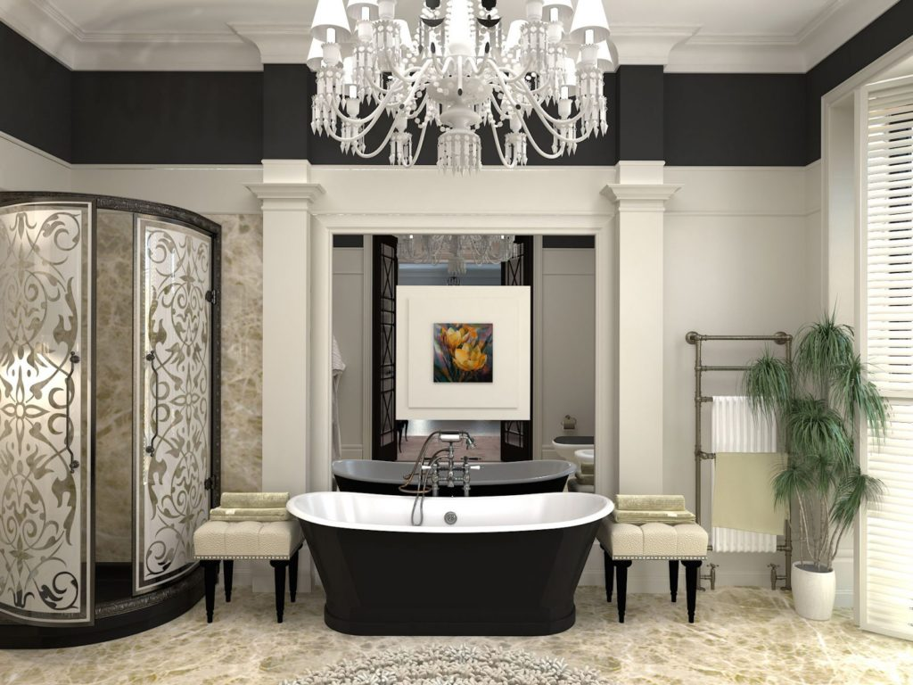 Большая ванная комната черно-белая гамма