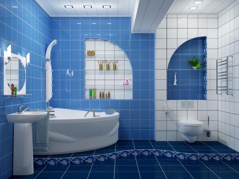 Большая ванная комната идентификация зон