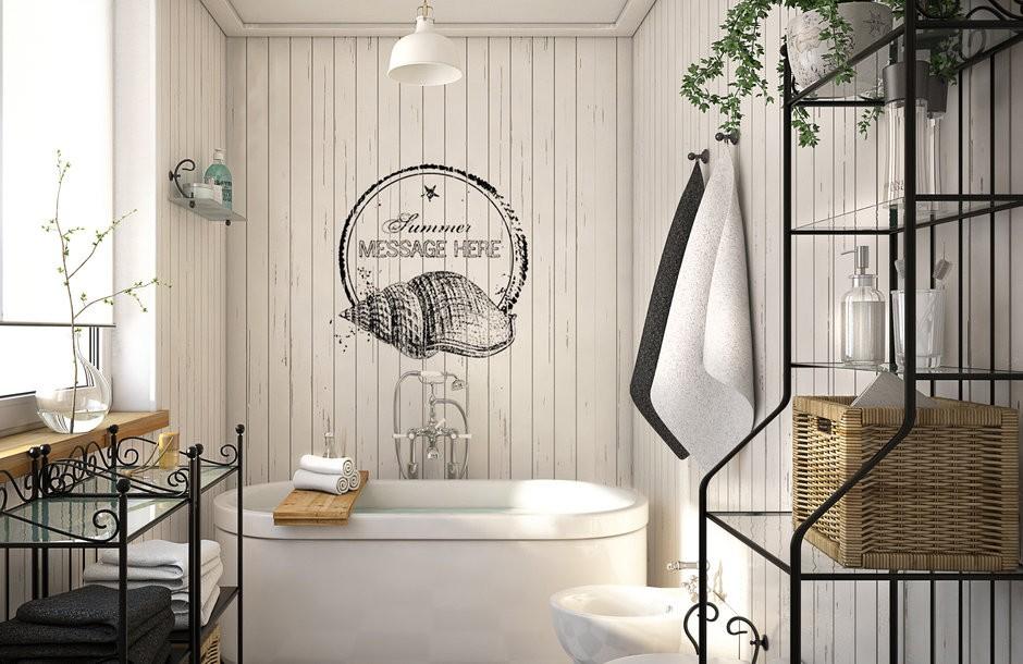 Большая ванная комната скандинавский стиль
