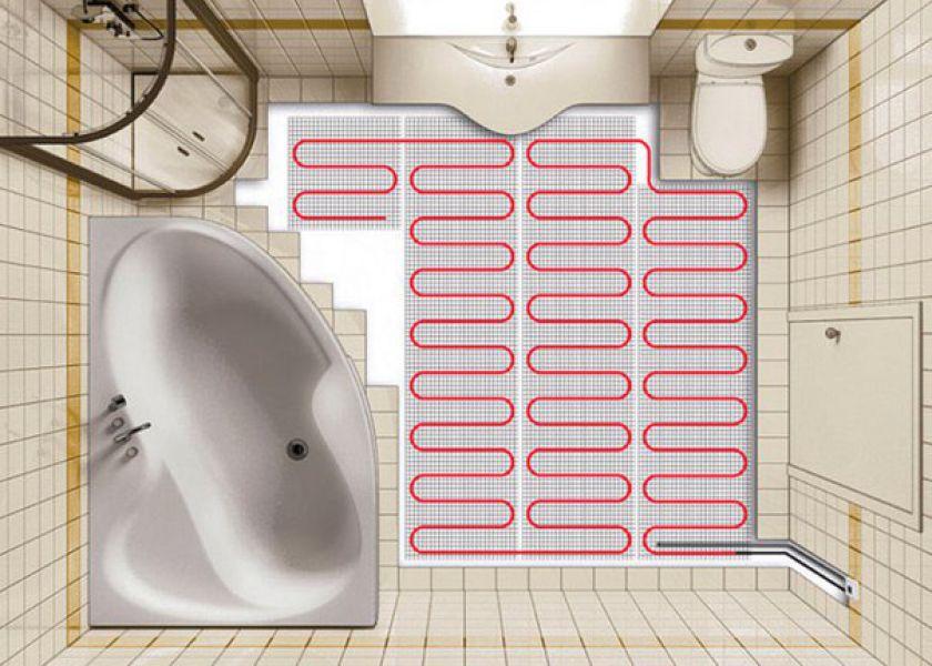 Большая ванная комната теплый пол