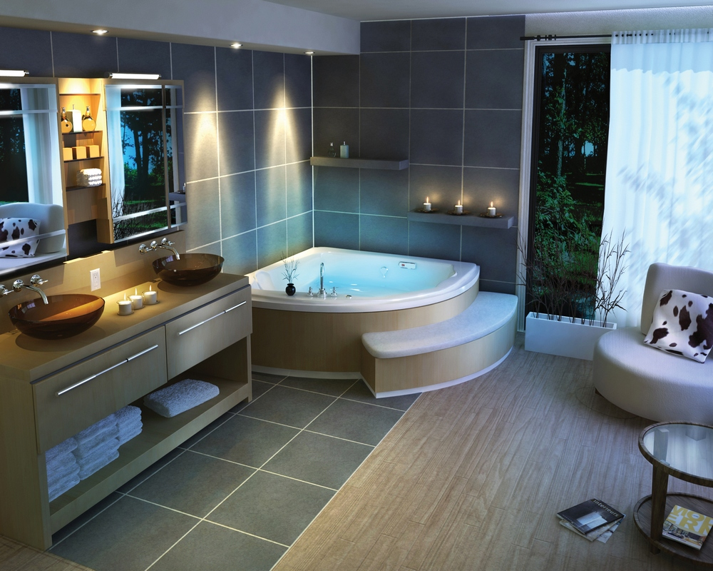 Большая ванная комната в стиле хай-тек