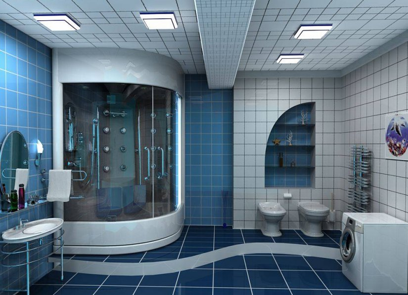 Большая ванная комната зонирование