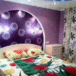 Декор спальни арка с подсветкой и фотопечатью