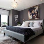 Декор спальни хай-тек серый