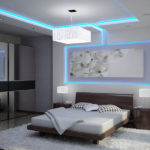 Декор спальни неоновый хай-тек с подсветкой