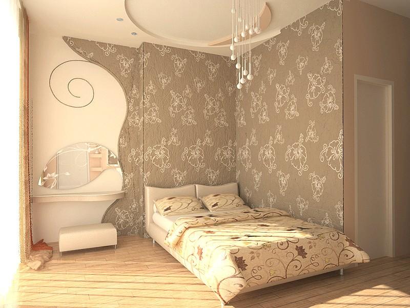 Декор спальни обои для функционального зонирования