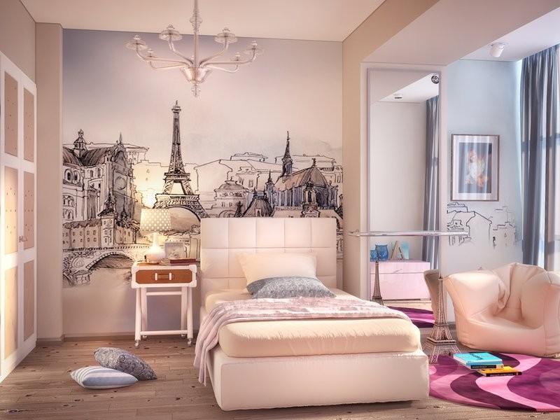 Декор спальни росписи на стене