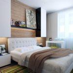 Декор спальни стены и пол древесину кубическая черно-белая мебель