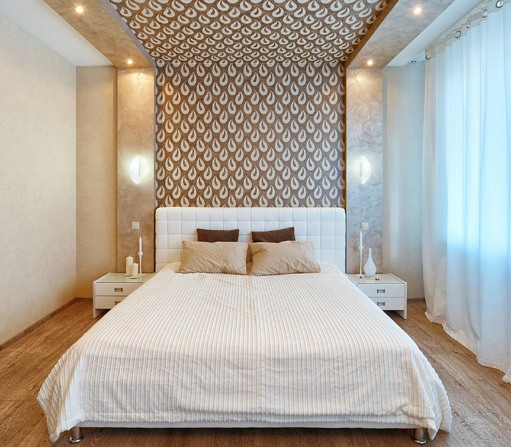 Декор спальни тканевой потолок